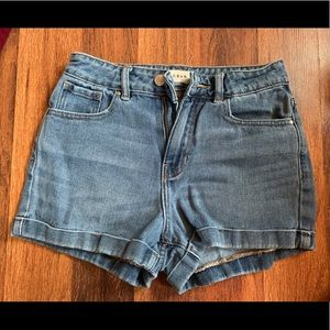 high waisted mom jean shorts